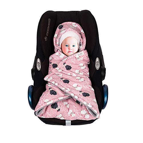 SWADDYL Baby Bunting Bag I Swaddle Blanket I Universal for Car Seat Graco Chicco Britax | Stroller | Baby Bed I Made in Europe (Pink)
