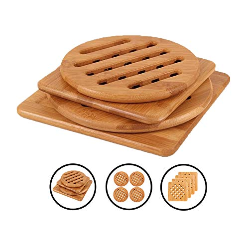 VEOLEY Bamboo Trivet Mat Set for Instant Hot Pot/Dishes/Bowl/Teapot/Pads/Hot Pot Holders Heat Resistant Trivet 4Pack, Multi Size, 2Round (S + M), 2Square (S + M)