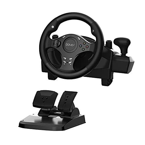 DOYO Gaming Racing Wheel 270 Degree Driving Force Steering Wheel with Responsive Gear and Pedals for PC/PS3/PS4/XBOX ONE/XBOX 360/Nintendo Switch/Android