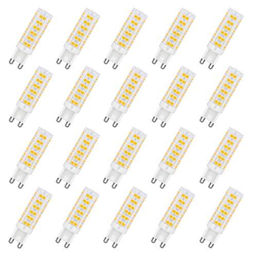 ALBN Leuchtmittel G9 LED,Menta, 7W Ersatz für 60W Halogen Lampen Warmweiß 3000K, G9 LED Birnen 450lm AC220-240V, Globaler 360° Abstrahlwinkel, 20er Pack
