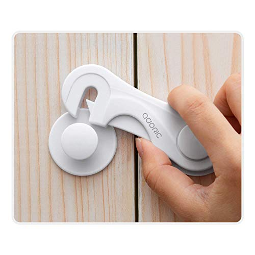 Cabinet Locks - Adoric Child Safety Locks 4 Pack - Baby Safety Cabinet Locks - Baby Proofing Cabinet Kitchen System with Strong Adhesive Tape