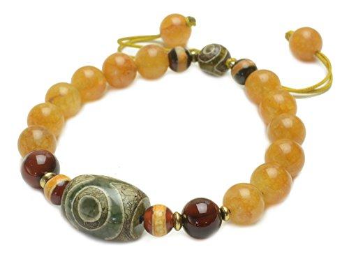 Elegantes Tibetanisches 3 Eyed Dzi Schützendes Amulett Gelbes Jade Perlen Armband - Fortune Feng Shui Schmuck