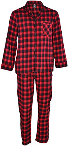 Hanes Men's 100% Cotton Flannel Plaid Pajama Top and Pant Set, Red, Large