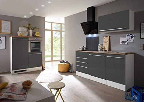 respekta Premium kitchenette keukenblok inbouwkeuken wit grijs hoogglans 290 cm