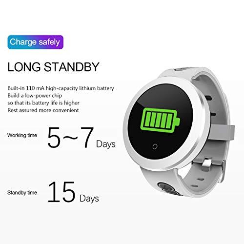 Funnyrunstore 0,95 Pollici OLED Bluetooth Intelligente Orologio IP68 Impermeabile Q8 PRO Uomini Signore Monitor della frequenza cardiaca Fitness Tracker Smartwatch (Colore: Bianco)