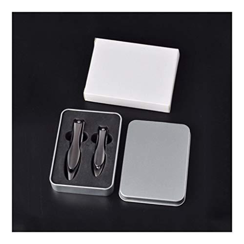 HJHJ Kit de manicura Set de manicura, Pedicura, Cortaúñas, Juego de Belleza Profesional, Herramientas de Uñas 2 Piezas Hombre y Mujer Viaje Portátil Set de Cortauñas Regalo (Color: Negro)