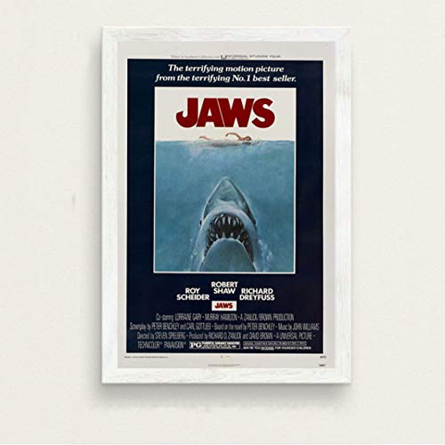 NOBRAND Jaws Classic Movie Series Horror Film Art Painting Seda Lienzo Poster Wall Home Decor 50 * 70Cm Sin Marco