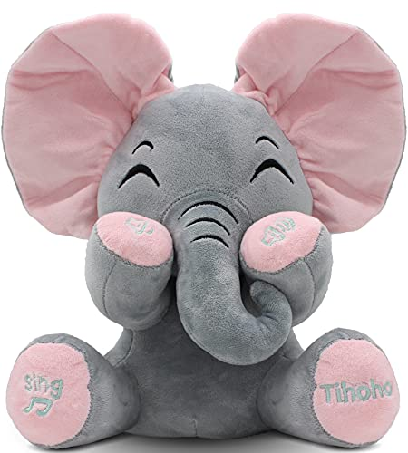 Peek A Boo Elephant Animated Talking Singing Elephant Plush Toy Baby Animated Elephant Plush Cute Toys Gift Stuffed Doll for Baby Tollders Kids Boys Girls Gift Adjust Sound (Pink)