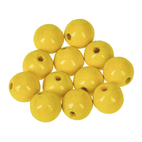 Holz-Perlen gelb 14 mm, 18 Stück, Efco