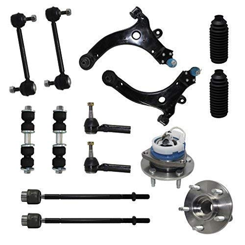 Detroit Axle - FWD Front Lower Control Arm W/Ball Joint + Wheel Hub And Bearing Assembly + Outer Inner Tie Rods W/Boots + Front And Rear Sway Bar Links Front Suspension Kits - 14pc Set