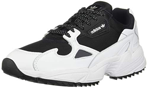 adidas Originals Women's Falcon Trail Running Shoe, Black/White/Night Metallic, 8 M US