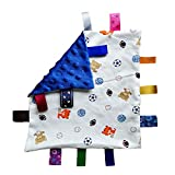 G-Tree Baby Boy Blue Tag Security Blanket Toy, Super Soft Taggie Blanket, Basketball Footaball Soccer Comforter Toy Blanket, Security Comforter with Colorful Tags Best Gift for Child Toddler Kid-Blue