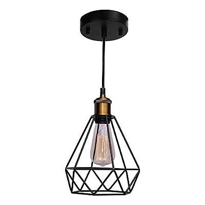CO-Z Vintage Pendant Light Black with 4 ft Cord Adjustable, Geometric Hanging Lamp Light Fixture with Wire Cage, Industrial 1-Light Pendant Lighting for Kitchen Island, Farmhouse, Living Room.