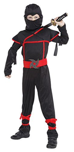 EOZY-Costume Ninja per Bambini Vestito Travestimento Carnevale Halloween Cosplay Nero (Petto 62-72cm)