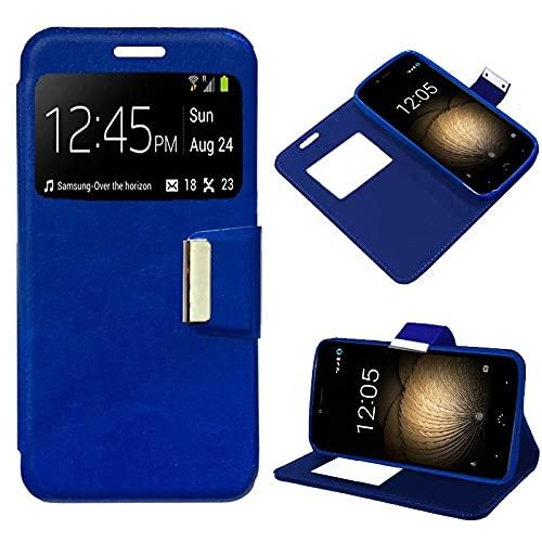 Bq Aquaris T Plus, Cubierta de la Caja, Abertura Lateral Tipo de Libro, Cuero de la PU, Color Azul