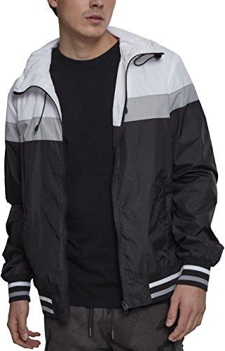 Urban Classics Herren College Windrunner Jacke, Mehrfarbig (Black/White/Grey 00514), XXXX-Large (Herstellergröße: 5XL)