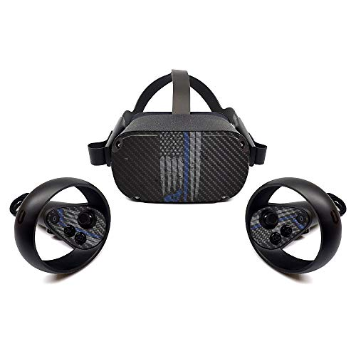MightySkins Carbon Fiber Skin for Oculus Quest - Thin Blue Line K9   Protective, Durable Textured Carbon Fiber Finish   Easy to Apply, Remove, and Change Styles   Made in The USA