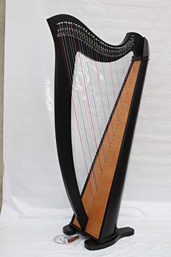 Black Celtic Irish Lever Harp 36 Strings Free Extra Strings and Tuning key