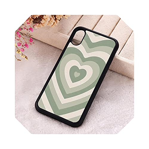 5 5S SE 2020 Funda de teléfono para iPhone 6 6S 7 8 Plus X Xs XR 11 12 Mini Pro Max goma silicona verde salvia Latte Heart-Para iPhone SE 2016