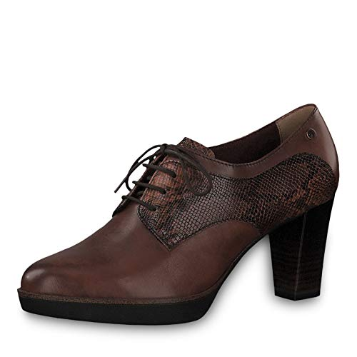 Tamaris Damen Pumps 23309-23, Frauen Schnürpumps, schnürung frontschnürung bequem Office-Schuh Business-Schuh Fashion,Chestnut/Snake,39 EU / 5.5 UK