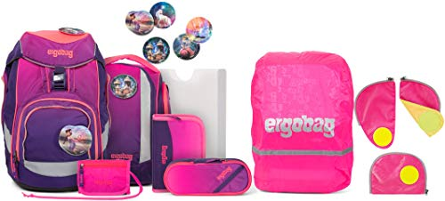 ergobag Pack FeentraumBär Schulrucksack-Set 6tlg. + Sicherheitsset & Regencape Pink
