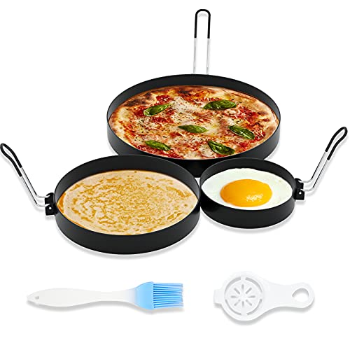 Ameupin 3.5 Inch Egg Rings for Griddle Frying Eggs, 6 Inch Pancake Rings, 8 Inch Omelet Rings (3 Pack Stainless Steel Non Stick Round Cooking Ring Molds with Oil Brush and Egg Separator)