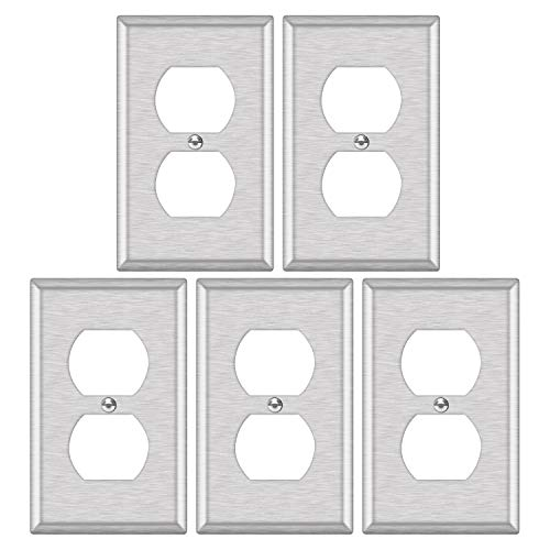 """5 Pack - ELECTECK 1-Gang 304SS Metal Duplex Light Switch Wall Plate, Corrosive Resistant Stainless Steel Outlet Cover, Standard Size L4.50"""" x W2.75"""", Silver"""