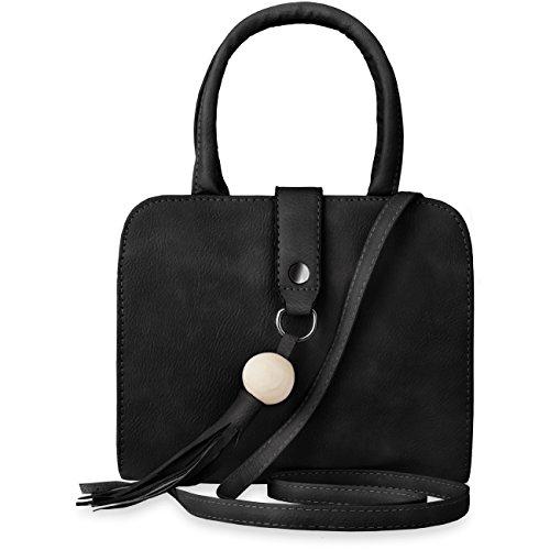 Unbekannt Damen-Aktentasche kleiner Bowling Bag mit Fransen - Schwarz