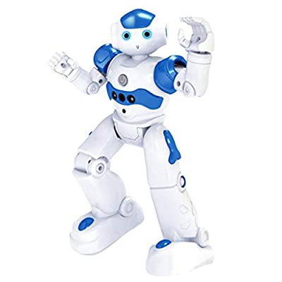 High-Tech Artificial Intelligence Robot, RC Smart Robot Toy for Kids Gesture Sensing Dancing Walking Remote Control Robot Intelligent Programmable Educational RC Robot Robotics Toys for kids (Blue)