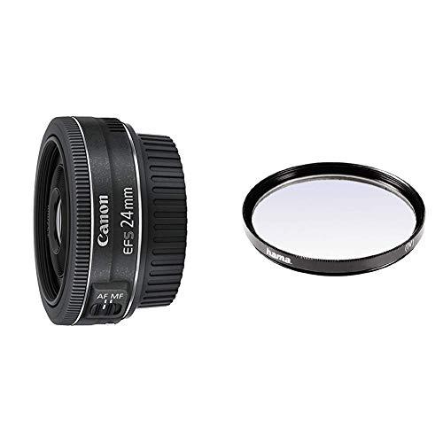 Canon Pancake EF-S 24 mm f/2.8 STM - Objetivo para Canon, Distancia Focal 24 mm, Apertura f/2.8, Negro + Hama 070052 - Filtro Ultravioleta, Color Neutro, 52 mm