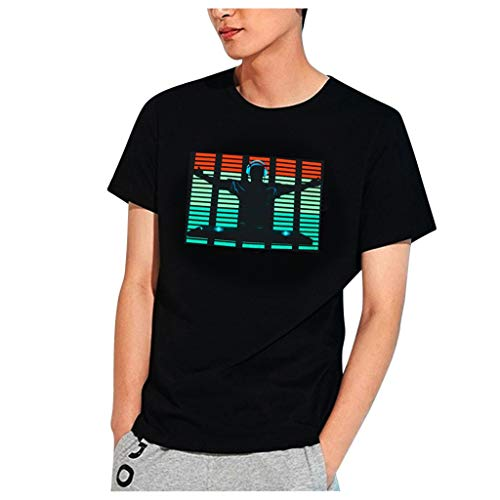 LANSKIRT Camiseta Manga Corta Hombre, DJ Sonido Activado Camiseta con Luz Led Parpadeante Arriba y Abajo,Camisa de Voz Rops de Hombre Camisas 2020 Primavera Verano Talla Grande XXS-XXXL