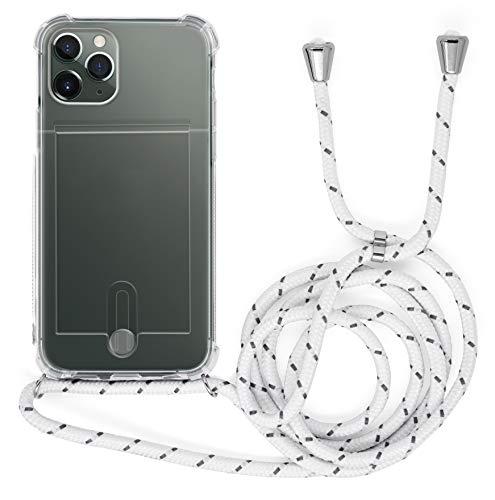 MyGadget Funda Transparente con Cordón para Apple iPhone 11 Pro - Carcasa Portatarjetas con Cuerda y Esquinas Reforzadas en Silicona TPU - Blanco