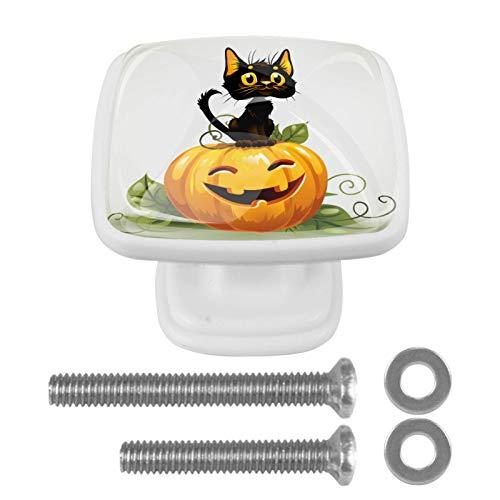 Calabaza de Halloween Kitty Cat Perillas de gabinete 4 pcs Round Knobs Knobs Tiradores de puerta de de con tornillos para la cocina de cajón de gabinete