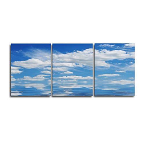 MMLXHH 3 Leinwandbilder Blue Sky 3 Panel Wandkunst Poster Hochzeitsdekoration Abstrakte Vintage Leinwand Ölgemälde für Wohnzimmer Schlafzimmer DekorKein Rahmen