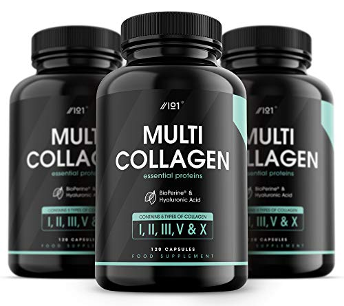 Collagen Complex Capsules - 5 Type Food Sourced Collagen - Hydrolysed Grass Fed Bovine, Wild Caught Marine & Free-Range Chicken, Made with Hyaluronic Acid & BioPerine, 120 Count (3 pack)