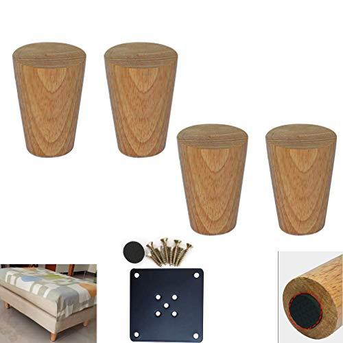 DX-set met 4 houten meubelpoten, verjongende, helder gecoate eiken tafelpoten, reservebedpoten, voor bank, keuken, bijzettafel, stoel, inclusief montagetoebehoren (20 cm)