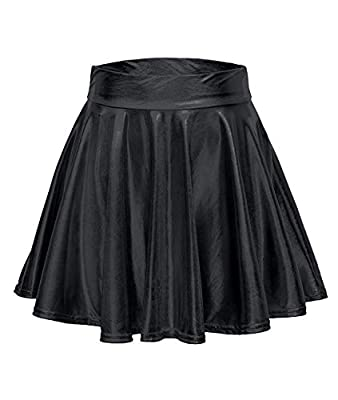 Aifer Womens Shiny Metallic Flare Pleated Mini Skater A Line Skirts