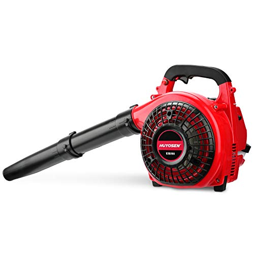 HUYOSEN Leaf Blowers 2-Cycle Engine 26CC Gas Blower Cordless Handheld Gasoline Blower with Nozzle Extension for Lawn Care,Double Length Tube Lightweight Gas Leaf Blower for Blowing Leaf/Snow Red Black