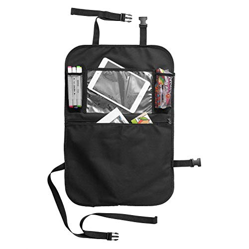Auto Organizer autozubehör AresKo Auto Esstisch Rückenlehnenschutz mit Bildschirm Berührbar Tablet Halter Multi-Tasche für Auto ordentlich, 1 Stück