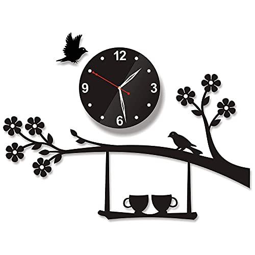 AERINA Jhula - Reloj de pared de acrílico 3D con diseño de árbol y pájaros, para sala de estar, dormitorio, hogar, oficina, color negro