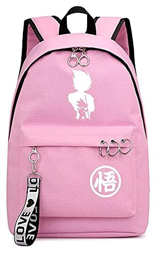 DOUYUAN Mochila de Anime Mochila Escolar, Viajes Mochila Casual, Mochila portátil Dragon Ball Monkey King/Vegeta IV (Color : Pink, Size : 44x30x16cm)