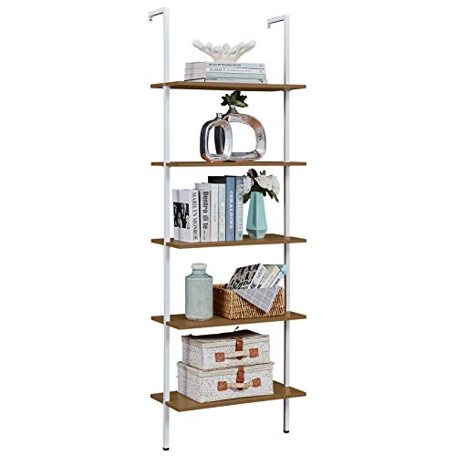 SUPERJARE Industrial Ladder Shelf 5Tier Wood WallMounted Bookcase with Stable Metal Frame 72 Inches Storage Rack Shelves Display Plant Flower Stand Bookshelf for Home Office  Light Walnut