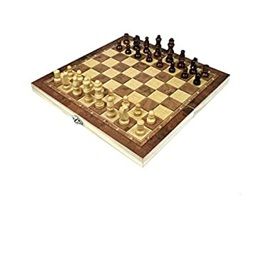 Wooden Chess and Checkers Set with Portable Folding Interior Storage Checkers Board Game Pocket Checkers Game Set and Travel Chess board(10  x 10  x 1.5 )