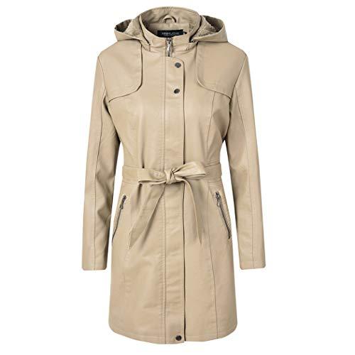 MALPYQ damesjas van imitatieleer, warm en fluweel verdikte lange jas met capuchon