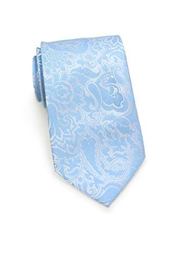 PUCCINI Herren-Krawatte | Paisley-Muster | Mikrofaser | Handarbeit (Hellblau)