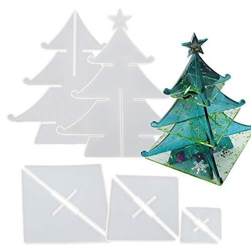 Silicone Christmas Tree Storage Rack Mold Kit Epoxy Resin Casting Mold Detachable Organizer Rack DIY Christmas Tree Crafts Jewelry Tray Dishes Storage Home Decoration