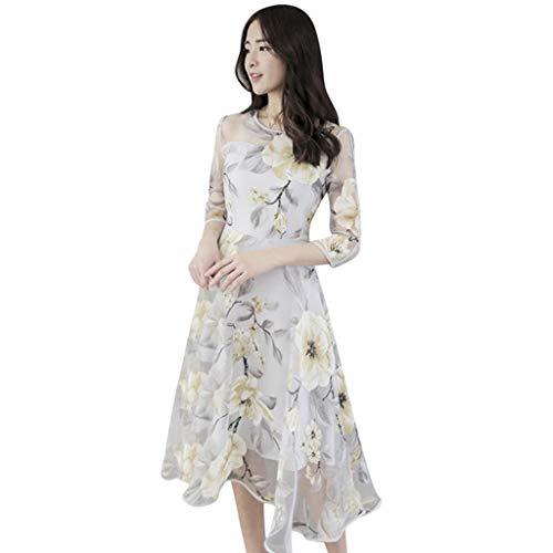 Bruiloft Gast Jurken voor Vrouwen, Chaofanjiancai Zomer Mode Organza Bloemenprint Bal Prom Jurk Cocktail Jurk
