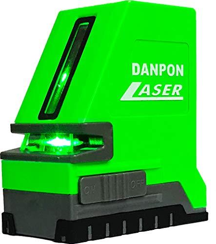 Danponレーザー墨出し器 グリーン 2ライン 水平ライン1本(出射角は180°以上)垂直ライン1本 クロスライン自動補正 傾斜アラーム 18650型充電池、充電器付き 高輝度 屋内外対応 非球面ガラスレンズ採用 VH-181
