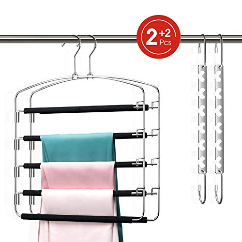 Pants Hangers Space Saving for Women Men 5 Tiers Metal Slacks Hangers, Swing Arms Foam Padded Non-slip Closet Trouser Hanger for Jeans, Suit Pants, Scarves, Ties (2 Pant Hangers &2 Magic Hangers)
