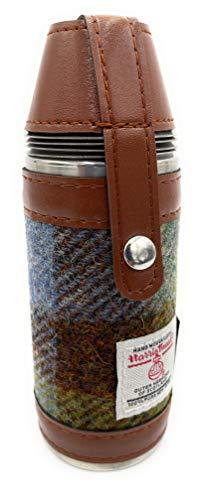 TARTAN TWEEDS Harris Tweed authentischer Jagd-Flachmann, 237 ml, mit 4 Edelstahlbechern (COL15)